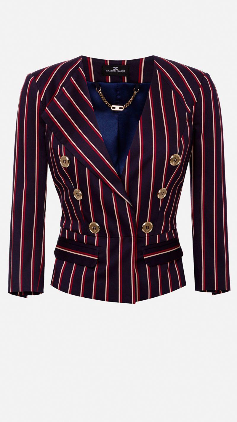 chaqueta corta raya diplomática Elisetta Franchi