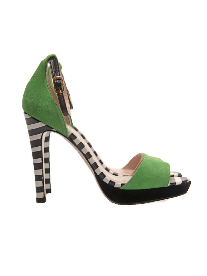 sandalia fiesta ante verde detalles rayas