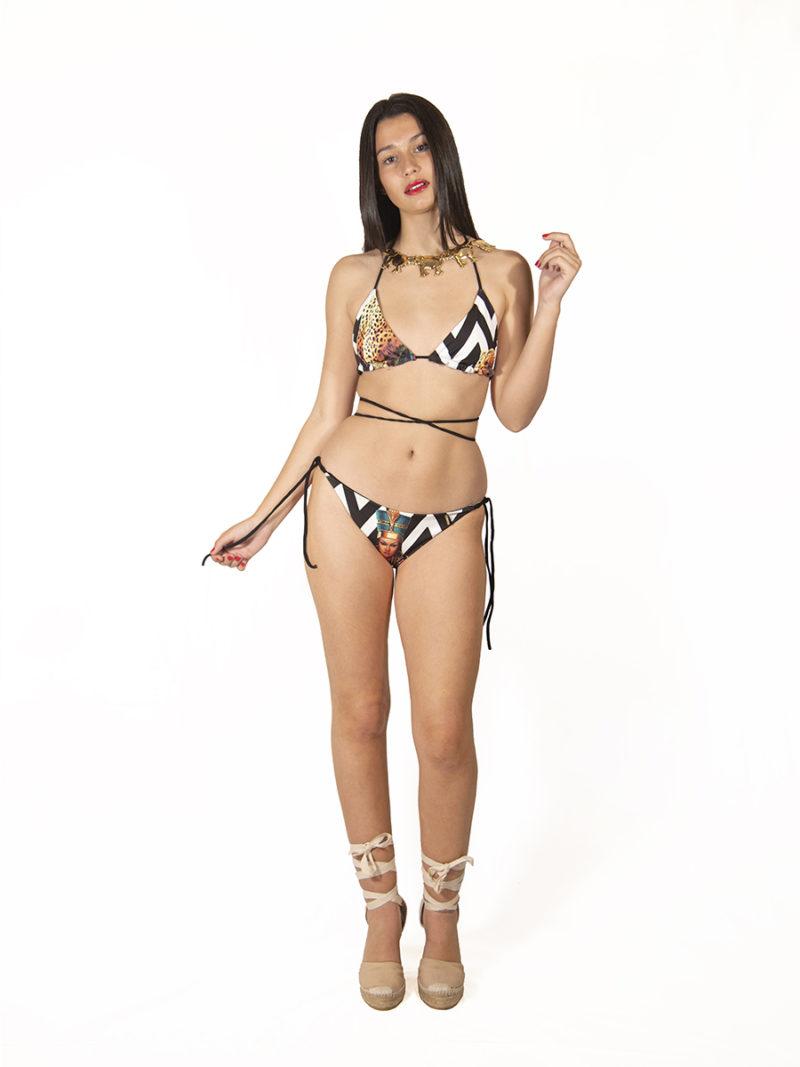 bikini triangular cortinilla print blanco y negro Elsavadeboda