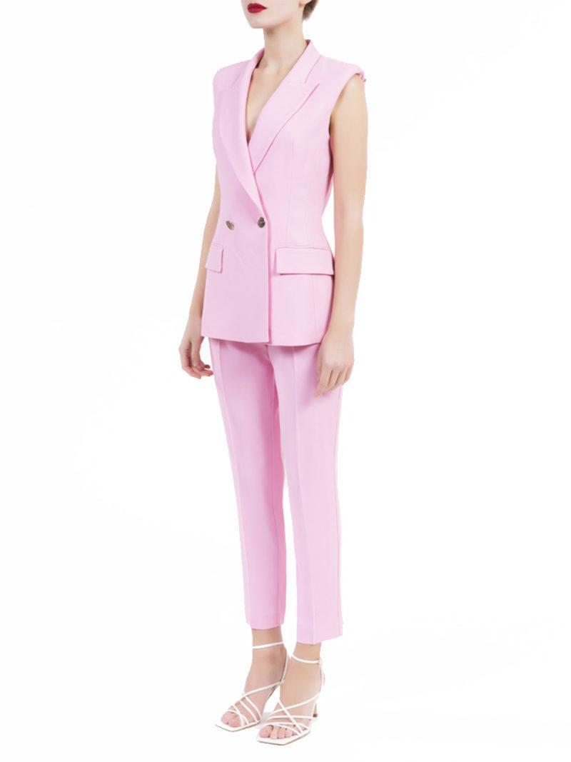 conjunto pantalón invitada crepe rosa