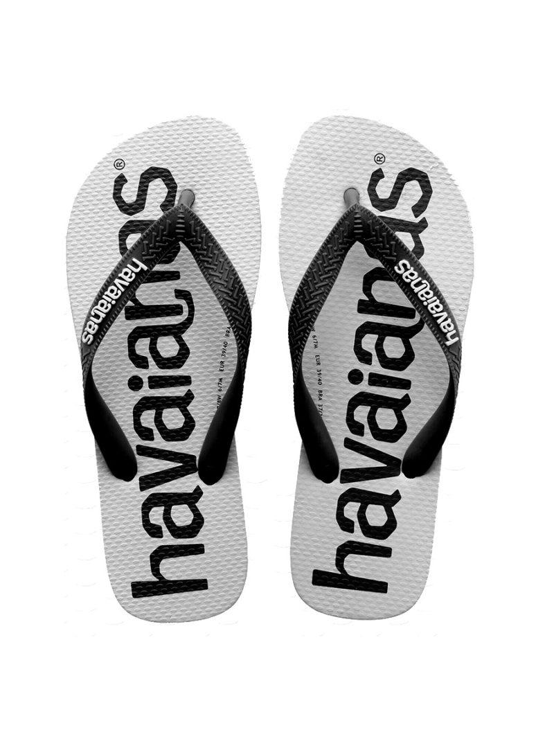 havaiana logo maxi bicolor blanco y negro