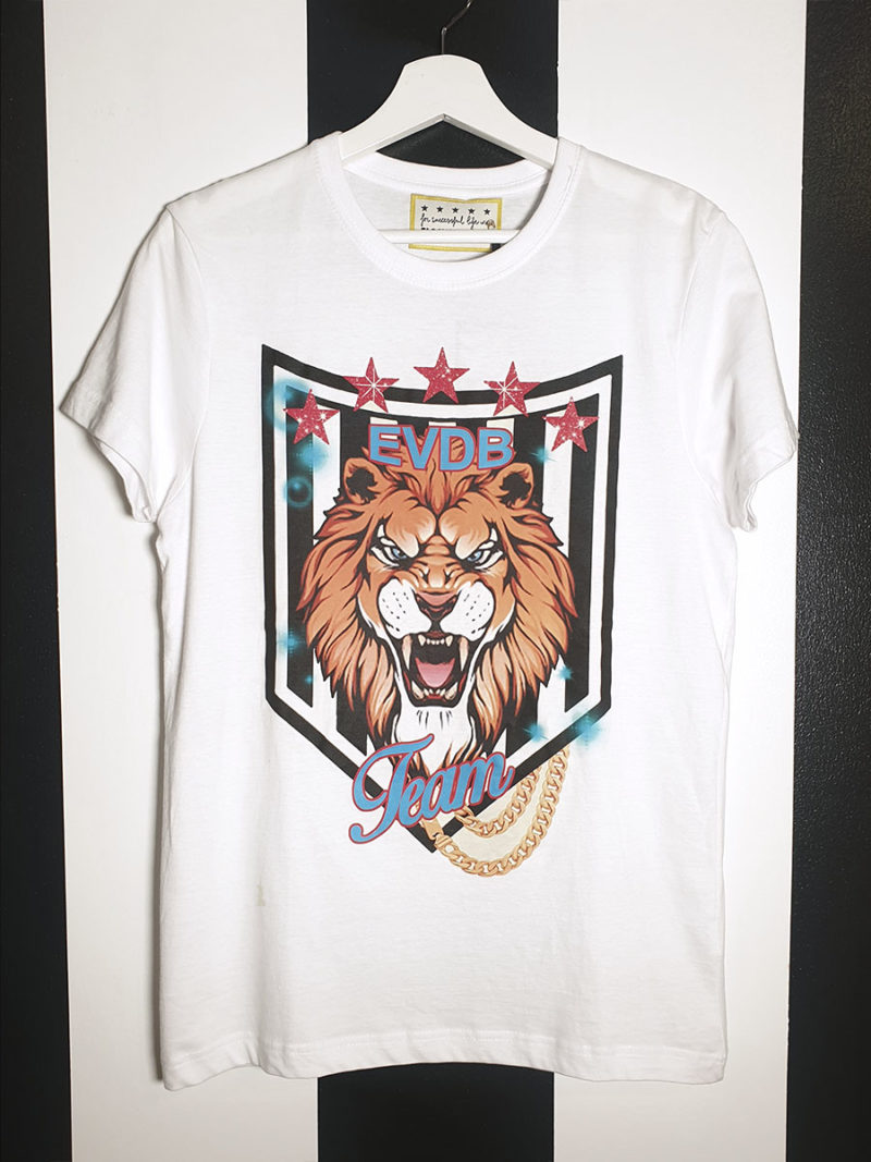 camiseta algodón blanca león EVDB TEAM