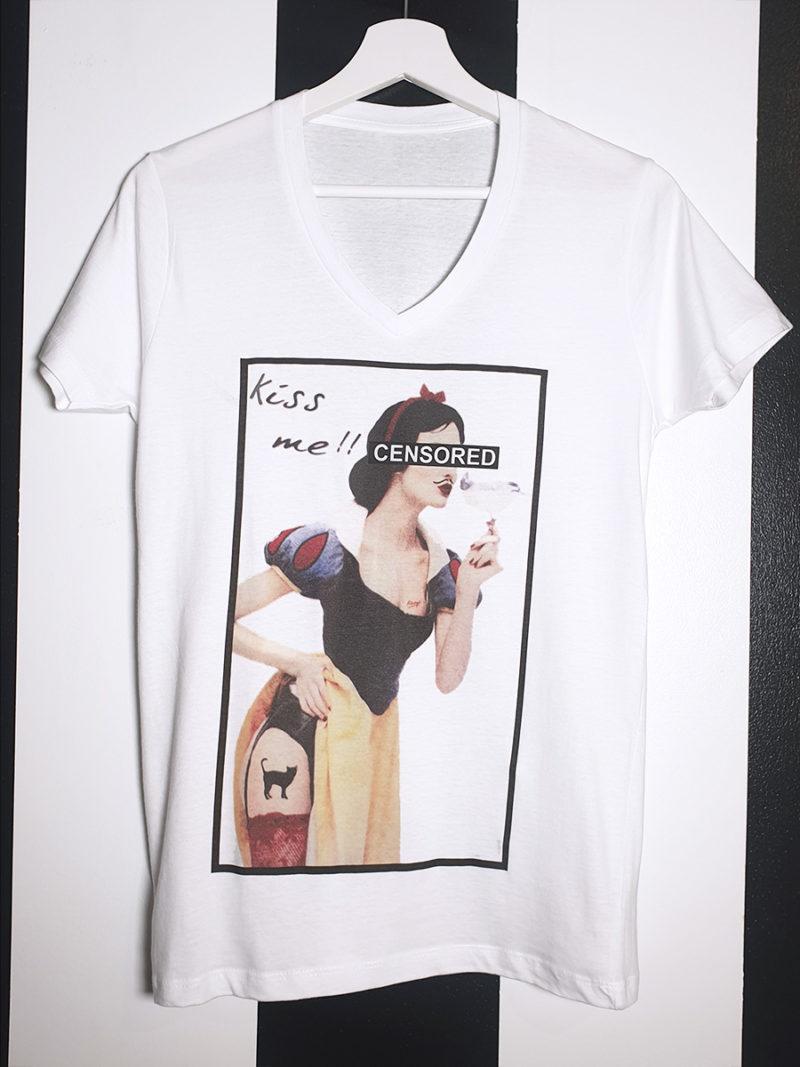 camiseta algodón cuello pico Blancanieves