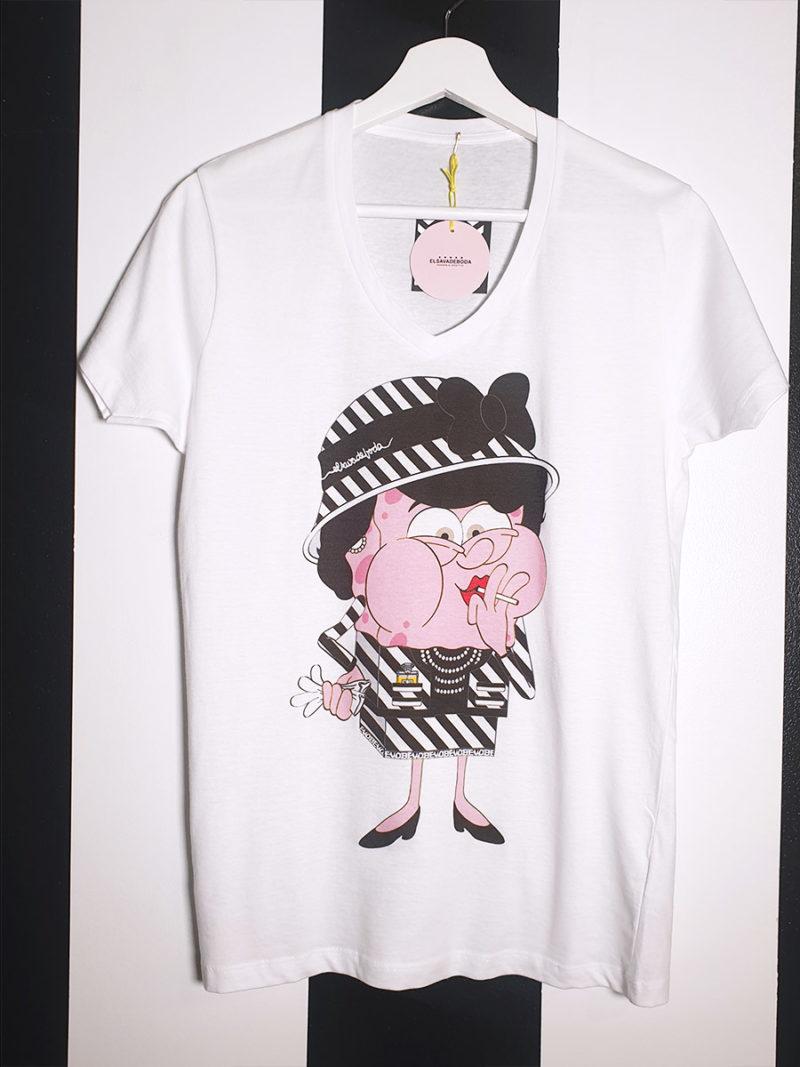 camiseta algodón cuello pico Coco Chanel