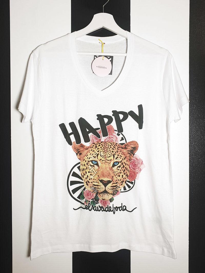 camiseta algodón pico blanca tigre