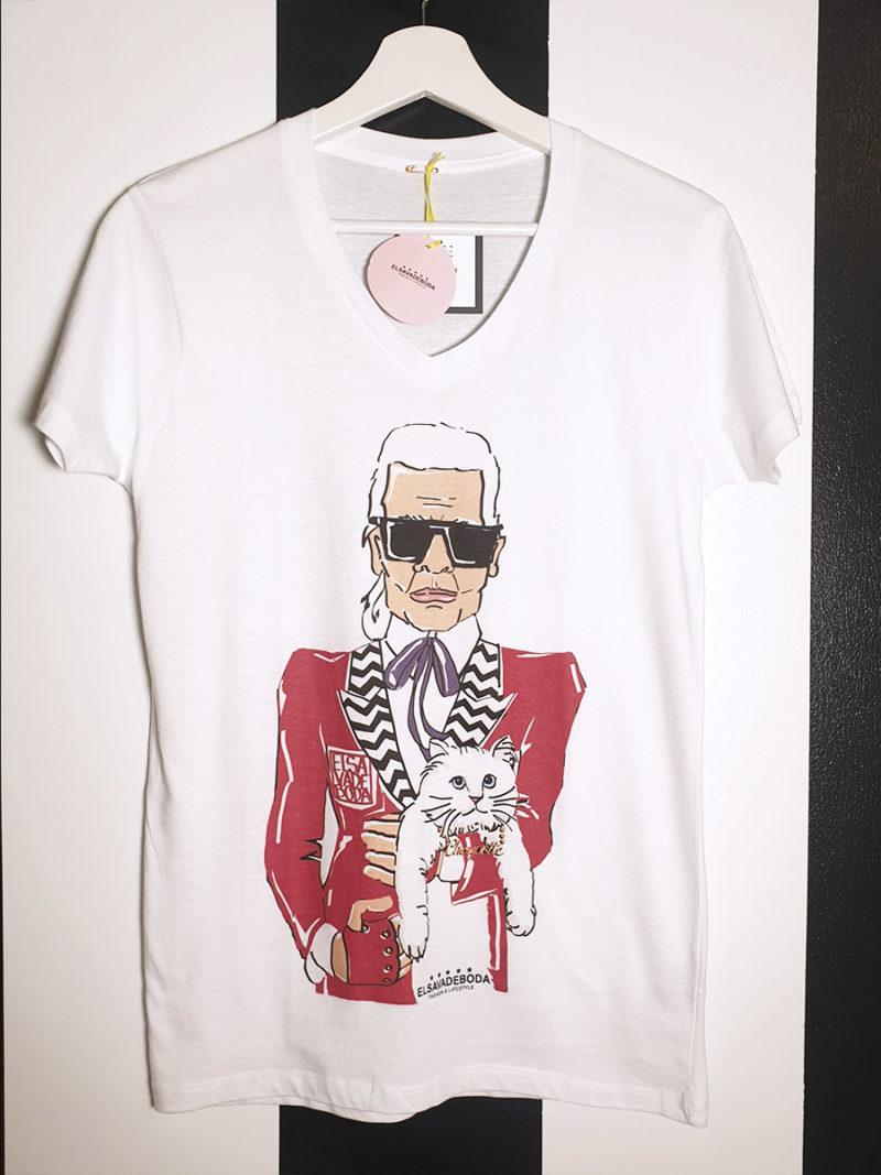camiseta algodón cuello pico Laggerfeld gato roja