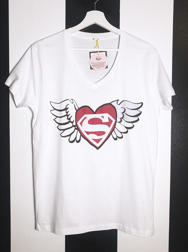 camiseta algodón blanca pico superman love