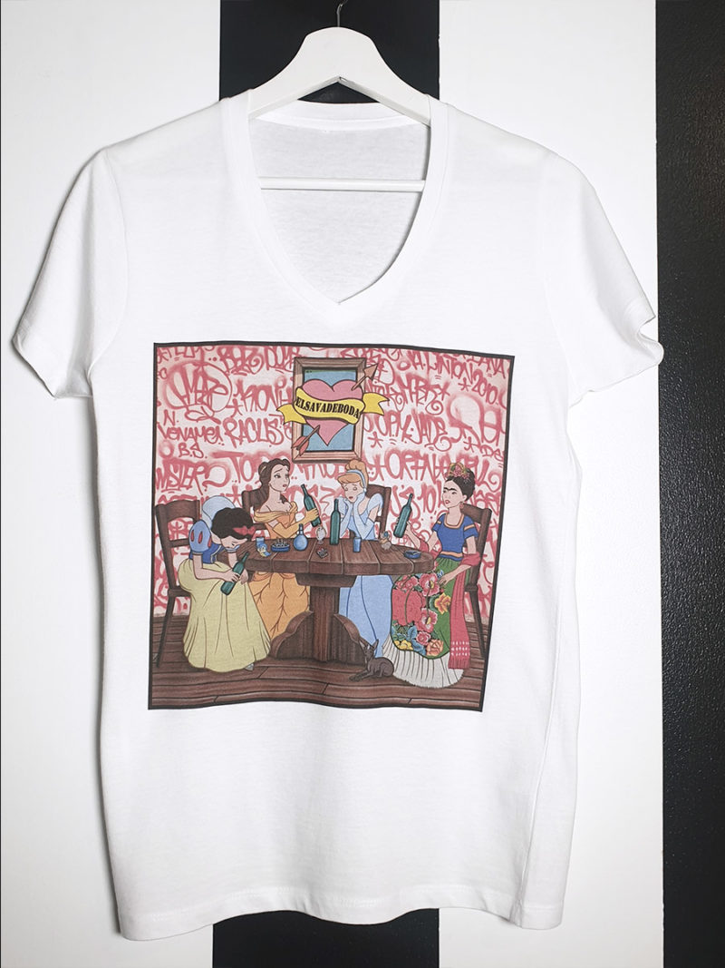 camiseta blanca algodón pico princesas Disney graffiti