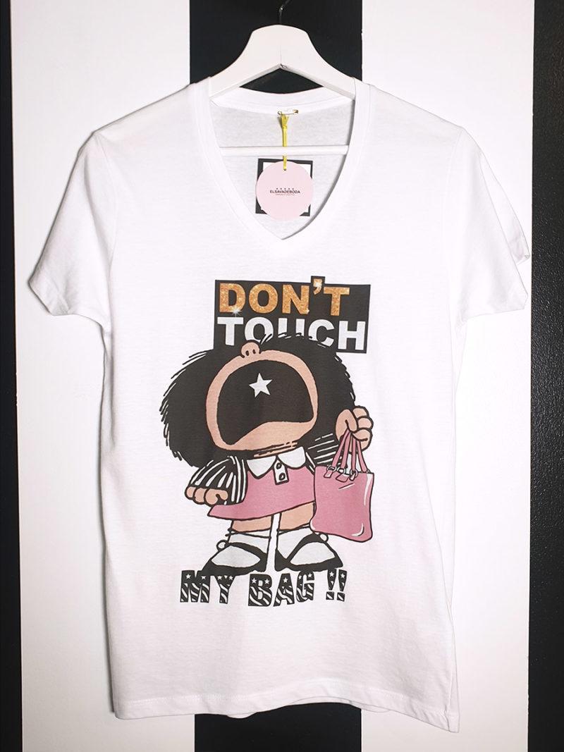 camiseta algodón cuello pico Mafalda