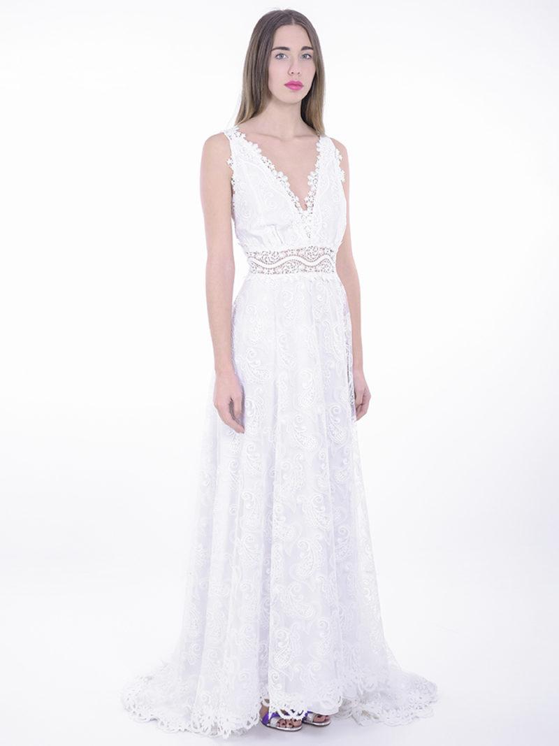 vestido largo novia encaje escote V