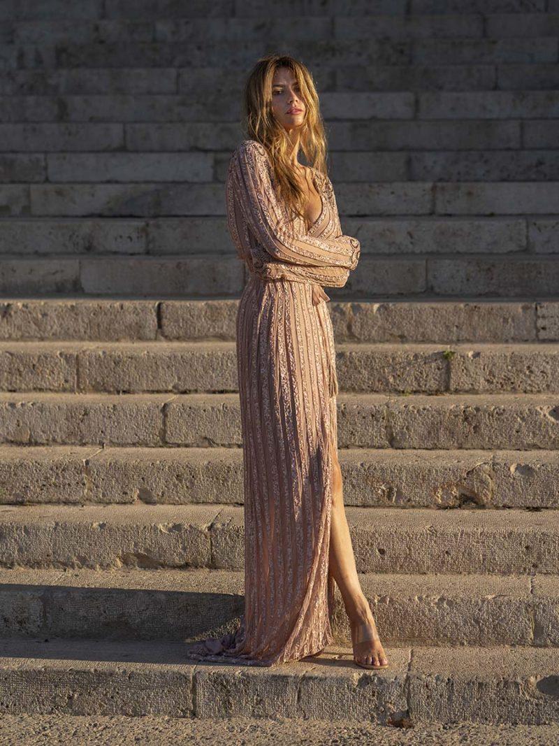vestido joya pedrería nude largo invitada perfecta
